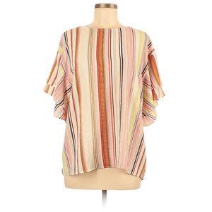 Bobeau   Vertical Stripe Ruffle Sleeve Blouse